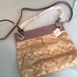 NWT Coach Ashley signature satchel in khaki